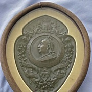 SALE Large Queen Victorian Golden Jubilee GUTTA PERCHA Plaque