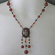Art Deco CZECH Black Carnelian Glass Dangling Necklace