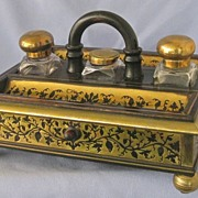 SALE 19th Century BOULLE Inkstand with Original Bottles