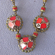 ART DECO Tomato Red Czech Glass Necklace