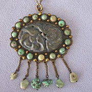 SALE DECO Era CHINESE Turquoise/Lapis Pendant on Chain
