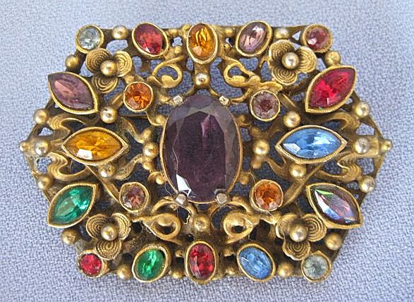 Gilt Rhinestone Austro Hungarian Style CZECH Pin