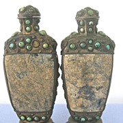 SALE Pair of Antique Large CHINESE Stone Turquoise Snuff Bottles