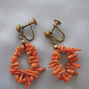 Vintage Branch Coral Loop Earrings