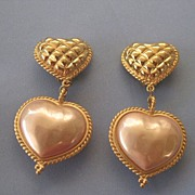 SOLD Huge 1980s Carolee Puffy HEART  Dangling Earrings