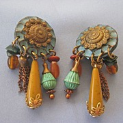 SALE 1980s Large Dangling Faux Amer/Turquoise Earrings