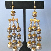 Long Dangling Faux Grey PEARL Earrings