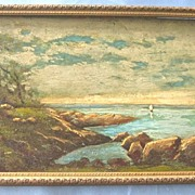 SALE Antique Oil Painting - Landscape/Water Scape