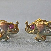 Estate 14k Ruby Diamond Petite ELEPHANT Stud Earrings