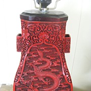 1950s Large CHINESE Carved Dragon Cinnabar Hu Form Table Lamp