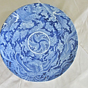SALE Large CHINESE Blue/White DRAGON Charger - 16""