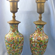 SALE Pair of Vintage Chinese Cloisonne Lamps