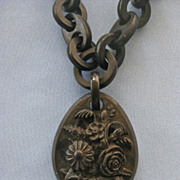 SALE Victorian MOURNING Vulcanite/Ebonite Carved Pendant/Chain