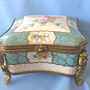 Vintage Fancy Hand Painted China Footed BOUDOIR Box - Birk's