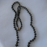 VICTORIAN Black Iron Mourning Bead Necklace