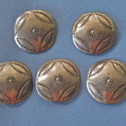 Set of 5 Stamped Sterling Native American BUTTONS
