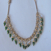 Dangling Sterling Green Glass ETRUSCAN Style Necklace