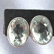 Large Chunky Blue TOPAZ Sterling Stud Earrings