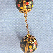 ART DECO Polka Dot Enamel Dangling Earrings