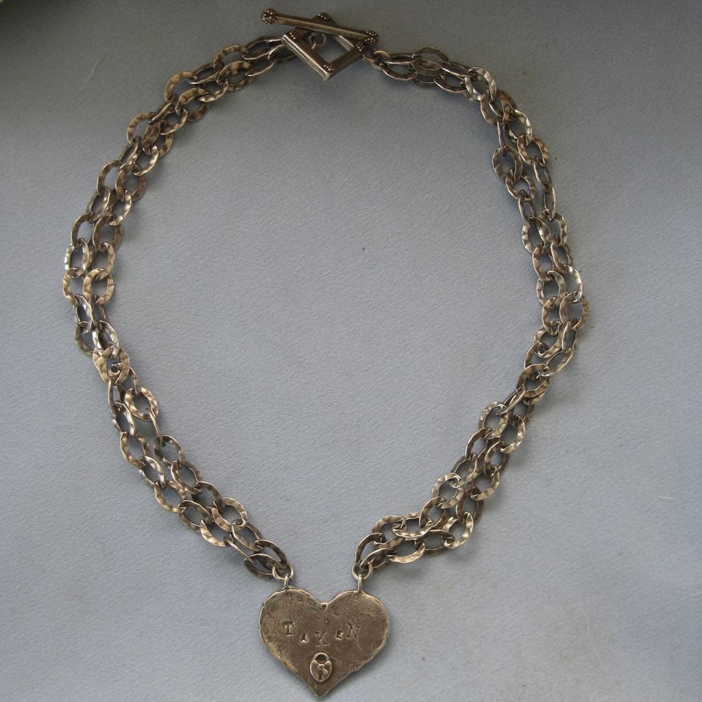 Modernist STUDIO Heart Open Hammered Link Necklace