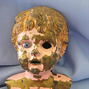 Antique Painted Metal DOLL Head