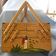Vintage Hand Painted Expandable Wood MEXICAN Sewing Box