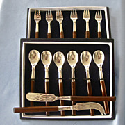 Mid Century 950 Silver Teak Appetizer Forks, Knives and Servers