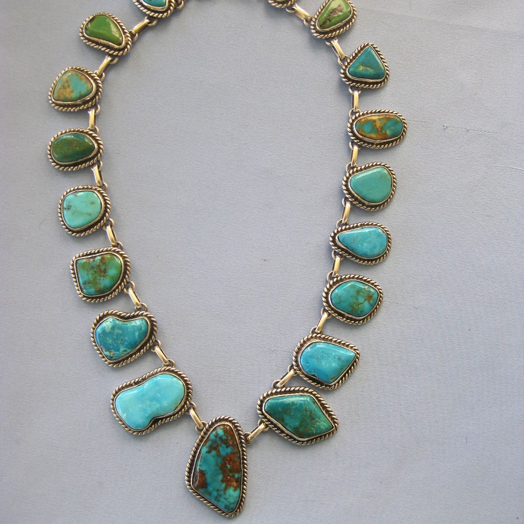 MAGNIFICO! Large Native American  Graduated Turquoise  Sterling Necklace - Signed