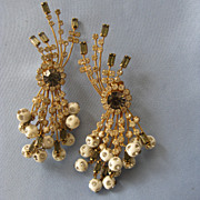 SALE Huge HOLLYWOOD Glam Rhinestone Dangling Earrings -4-1/2""