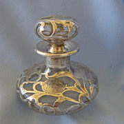 Larger ART NOUVEAU Iris Sterling Overlay Perfume Bottle