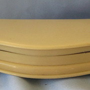 Elegant Curved Large French Ivory/Celluloid Jewelry Box