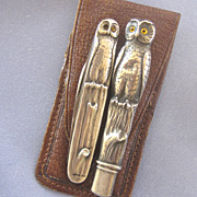Sterling ARTS & CRAFTS Owl Pencil & Pocket Knife Set Leather Case