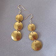Long Dangling FRENCH Coin Earrings