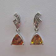 Petite Retro Style 14k White Gold DIAMOND Topaz Earrings