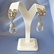 Glamour Rhinestone Large Tear Drop Crystal Earrings