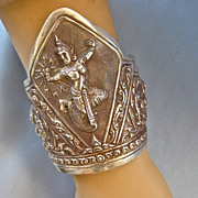 Dramatic Large Vintage Sterling Siam Hindu GODDESS Cuff