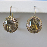Vintage Topaz Sterling Gilt Earrings - VICTORIAN STYLING