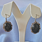 Vintage Victorian Style Sterling Gilt Onyx Earrings