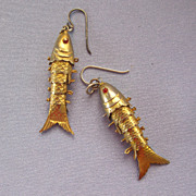 Large Articulated Gold Wash Fish Earrings