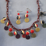 Colorful Dangling Old Plastic Bead Disc Necklace/Earrings