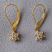 Petite 14k CZ Star Cluster Lever Back Earrings