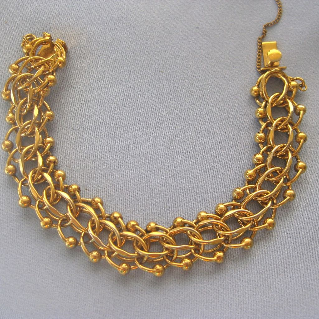 Vintage Gold Filled Open Link ETRUSCAN Style Wide Bracelet