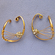 Mid Century Gold Filled Rhinestone Cuff Earrings