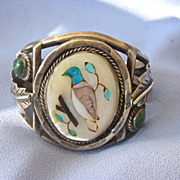 SALE Vintage Large ZUNI Bird Gem Inlay Cuff - Unisex