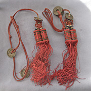 Pair Red Vintage CHINESE Silk Tassels - Coins
