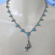 Registered Old Pawn Small Scale Woman's Turquoise Sterling Necklace