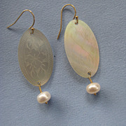 Antique CHINESE Mother of Pearl Gaming Counter Earrings
