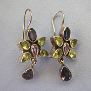 SALE Dangling Flower Sterling Amethyst Peridot Earrings