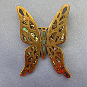 Mexican Butterfly Pin - Brass/Abalone -LOS CASTILLO - Taxco