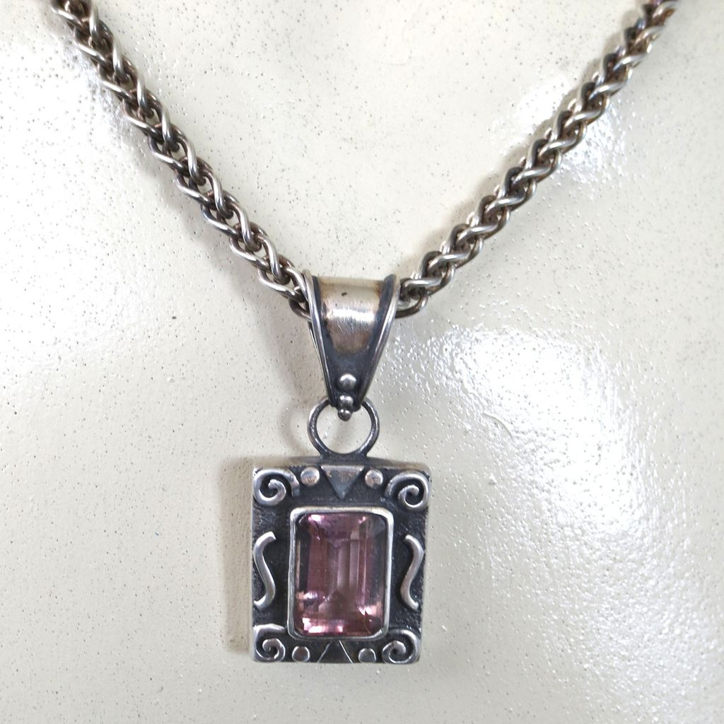 Sterling Amethyst Pendant/Chunky Wheat Chain